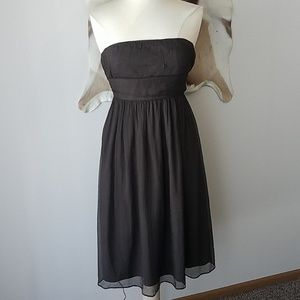 Brown silk strapless midi dress